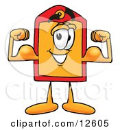 Clipart Picture Of A Price Tag Mascot Cartoon Character Flexing His Arm Muscles
