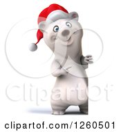 Clipart Of A 3d Christmas Polar Bear Pointing Around A Sign Royalty Free Illustration by Julos