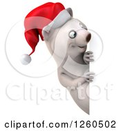 Clipart Of A 3d Christmas Polar Bear Looking Around A Sign Royalty Free Illustration