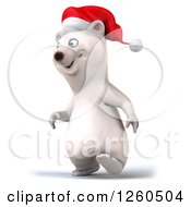 Clipart Of A 3d Christmas Polar Bear Walking Royalty Free Illustration by Julos