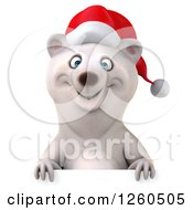 Clipart Of A 3d Christmas Polar Bear Over A Sign Royalty Free Illustration