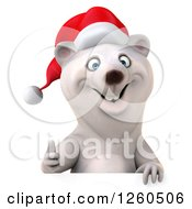 Clipart Of A 3d Christmas Polar Bear Holding A Thumb Up Over A Sign Royalty Free Illustration by Julos