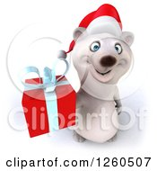 Clipart Of A 3d Christmas Polar Bear Holding Up A Gift Royalty Free Illustration by Julos