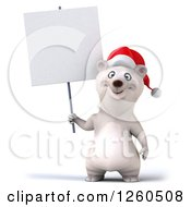 Clipart Of A 3d Christmas Polar Bear Holding Up A Blank Sign Royalty Free Illustration by Julos