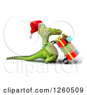 Clipart Of A 3d Christmas Crocodile Pushing Gifts On A Dolly Royalty Free Illustration
