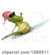 Clipart Of A 3d Christmas Crocodile Wearing Sunglasses And Surfing Royalty Free Illustration