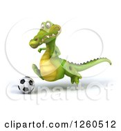 Clipart Of A 3d Crocodile Wearing Sunglasses And Playing Soccer Royalty Free Illustration by Julos
