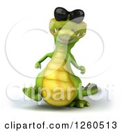 Clipart Of A 3d Crocodile Wearing Sunglasses And Walking Royalty Free Illustration by Julos