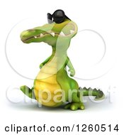 Clipart Of A 3d Crocodile Wearing Sunglasses And Walking Royalty Free Illustration