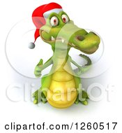 Clipart Of A 3d Christmas Crocodile Holding A Thumb Up Royalty Free Illustration