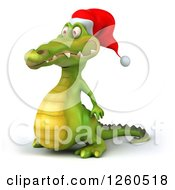 Clipart Of A 3d Christmas Crocodile Facing Left Royalty Free Illustration by Julos
