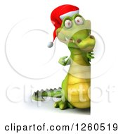 Clipart Of A 3d Christmas Crocodile Pointing Around A Sign Royalty Free Illustration