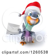 Clipart Of A 3d Christmas Pigeon Holding Up An Envelope Royalty Free Illustration