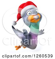 Clipart Of A 3d Christmas Pigeon Flying With A Thumb Down Royalty Free Illustration