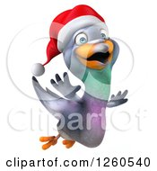 Clipart Of A 3d Christmas Pigeon Flying Royalty Free Illustration