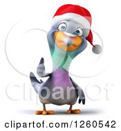 Clipart Of A 3d Christmas Pigeon Giving A Thumb Up Royalty Free Illustration