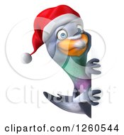 Clipart Of A 3d Christmas Pigeon Looking Around A Sign Royalty Free Illustration
