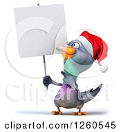 Clipart Of A 3d Christmas Pigeon Holding Up And Pointing To A Blank Sign Royalty Free Illustration
