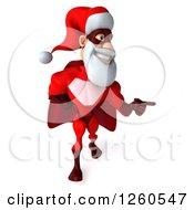 3d Super Hero Santa Walking And Pointing