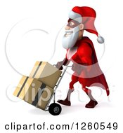 Clipart Of A 3d Super Hero Santa Moving Boxes On A Dolly Royalty Free Illustration