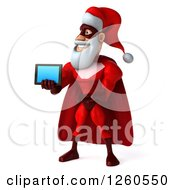 3d Super Hero Santa Holding Out A Tablet Or Smart Phone