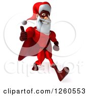 3d Super Hero Santa Speed Walking And Giving A Thumb Up