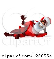 3d Super Hero Santa Waving And Resting On His Side