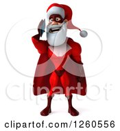 3d Super Hero Santa Talking On A Tablet Or Smart Phone