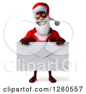Clipart Of A 3d Super Hero Santa Holding A Giant Envelope Royalty Free Illustration