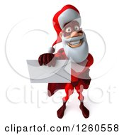 3d Super Hero Santa Holding Out An Envelope