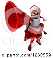 Clipart Of A 3d Super Hero Santa Announcing With A Megaphone Royalty Free Illustration
