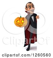 Clipart Of A 3d Dracula Vampire Holding A Halloween Jackolantern Pumpkin Around A Sign Royalty Free Illustration