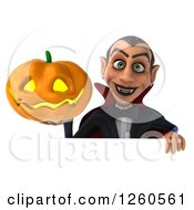 Clipart Of A 3d Dracula Vampire Holding A Halloween Jackolantern Pumpkin Over A Sign Royalty Free Illustration