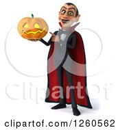 Clipart Of A 3d Dracula Vampire Holding And Pointing To A Halloween Jackolantern Pumpkin Royalty Free Illustration by Julos