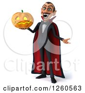 Clipart Of A 3d Dracula Vampire Holding A Halloween Jackolantern Pumpkin Royalty Free Illustration by Julos