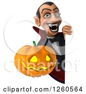 Clipart Of A 3d Dracula Vampire Holding A Halloween Jackolantern Pumpkin Around A Sign Royalty Free Illustration by Julos