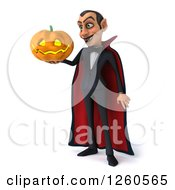 Clipart Of A 3d Dracula Vampire Holding A Jackolantern Halloween Pumpkin Royalty Free Illustration