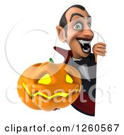 Clipart Of A 3d Dracula Vampire Holding A Jackolantern Halloween Pumpkin Around A Sign Royalty Free Illustration by Julos