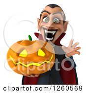 Clipart Of A 3d Dracula Vampire Holding A Jackolantern Halloween Pumpkin Royalty Free Illustration by Julos