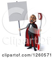 Clipart Of A 3d Dracula Vampire Holding A Giant Toothbrush And A Blank Sign Royalty Free Illustration