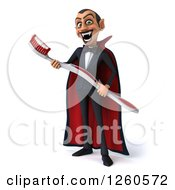 Clipart Of A 3d Dracula Vampire Holding A Giant Toothbrush Royalty Free Illustration