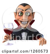 Clipart Of A 3d Dracula Vampire Holding Wine Over A Sign Royalty Free Illustration