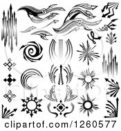 Clipart Of Black And White Arrow Designs Royalty Free Vector Illustration by Chromaco
