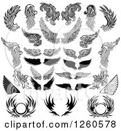 Clipart Of Black And White Feathered Wings And Shields Royalty Free Vector Illustration