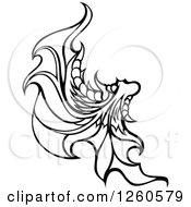 Clipart Of A Black And White Fairy Wing Royalty Free Vector Illustration