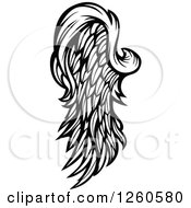 Clipart Of A Black And White Feathered Wing Royalty Free Vector Illustration