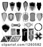 Clipart Of Grayscale Shield Badges Royalty Free Vector Illustration by Chromaco