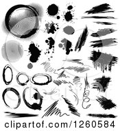 Clipart Of Grunge Stains And Marks Royalty Free Vector Illustration