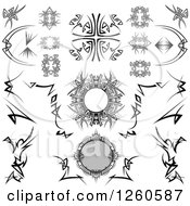 Clipart Of Black And White And Grayscale Tribal Design Elements Royalty Free Vector Illustration