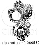 Black And White Ornate Floral Design Element